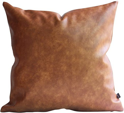 Amazon.com: Kdays Thick Brown Faux Leather Throw Pillow Cover Cognac Leather Decorative Throw Pillow Case Farmhouse Decor Sofa Couch Cushion Covers Modern Minimalist Waterproof Pillow Cover 16x16 Inches: Home & Kitchen