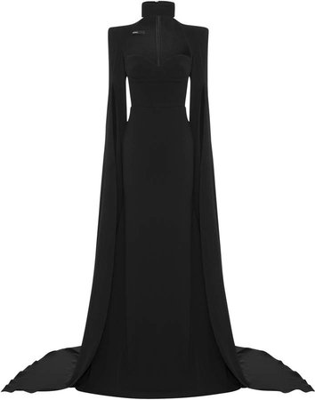 Alex Perry Bradford Cape-Sleeve Crepe Gown