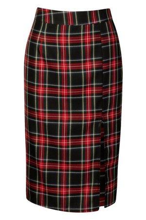 Woven Tartan Split Midi Skirt | Boohoo