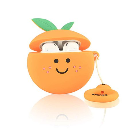 Amazon.com: Ownest Compatible AirPods Case with Fruit Cute Soft Liquid Silicone Shockproof No Dust Cover Case for Apple Airpods 2 &1,Cute for Airpods-Orange: Cell Phones & Accessories