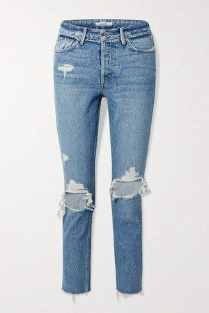 Karolina Cropped Distressed High-rise Skinny Jeans - Blue