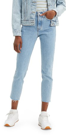 Wedgie Icon Fit High Waist Raw Hem Ankle Jeans