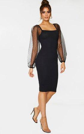 Tall Black Organza Sleeve Midi Dress   Tall   PrettyLittleThing