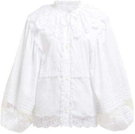 DOLCE & GABBANA Lace And Cotton Blend Poplin Blouse