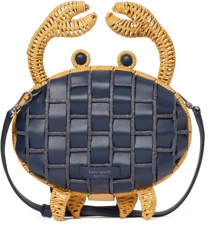 Shelly Woven Leather & Wicker Crab Crossbody Clutch
