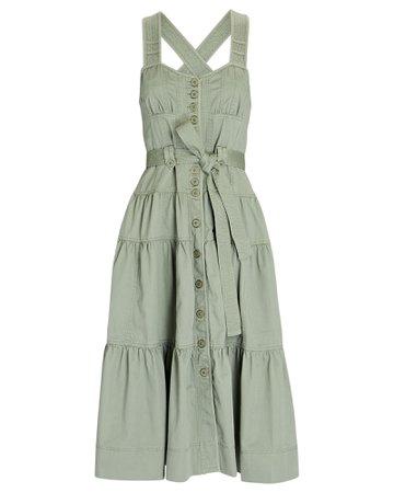 Ulla Johnson Hilda Tiered Cotton Midi Dress | INTERMIX®
