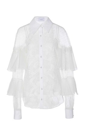 MARCHESA Collared Chiffon-Trimmed Lace Blouse