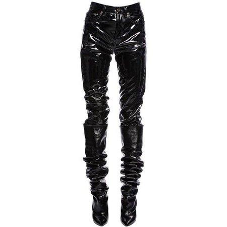 Saint Laurent Women Boyfriend Faux Patent Leather Pants ($960) ❤ liked on Polyvore featuring pants, black, 5 pocket … | Patent leather pants, Leather pants, Clothes