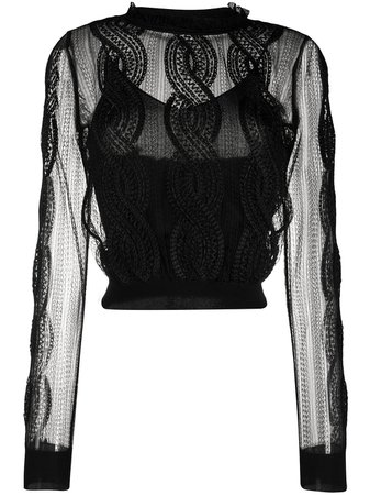Alexander Mcqueen Sheer Embroidered Knitted Top 610771Q1AM8 Black | Farfetch