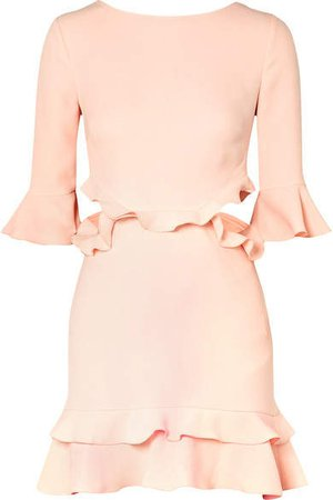 Karly Cutout Ruffled Crepe Mini Dress - Pastel pink