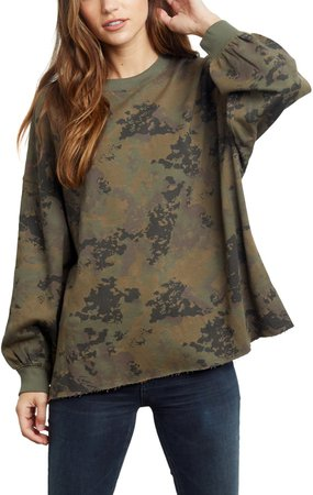Reeves Camo Raw Hem Sweatshirt
