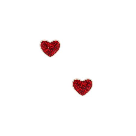 Silver Glitter Heart Stud Earrings - Red | Claire's US