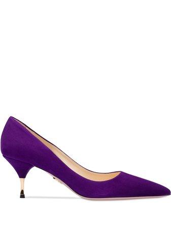 Purple Prada Suede 65 Pumps | Farfetch.com