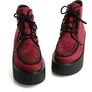 Women's Red Sexy Lace UP High Top Flat PlatForm