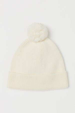Ribbed Hat - White