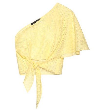Cotton asymmetrical tie-front top
