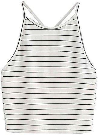 Amazon.com: NEARTIME Women's Vest, White Striped Tank Top Sleeveless T-Shirt Cute Tops: Clothing