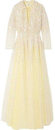 Lenka Sequinned Tulle Gown - Yellow