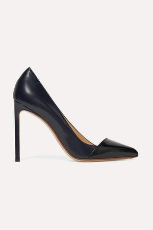 Two-tone Leather Pumps - Navy
