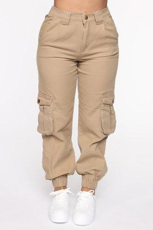 *clipped by @luci-her* Leslie Cargo Joggers - Khaki - Pants - Fashion Nova