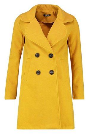 Double Breasted Collared Wool Look Coat | Boohoo yellow