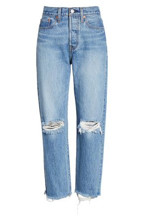 Levi's® Wedgie High Waist Ripped Crop Straight Leg Jeans (Uncovered Truth) | Nordstrom