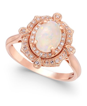 EFFY Collection Aurora by EFFY® Opal (5/8 ct. t.w.) and Diamond (1/6 ct. t.w.) Oval Ring in 14k Rose Gold & Reviews - Rings - Jewelry & Watches - Macy's