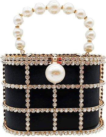 Synthetic Pearl Top-Handle Women Metal Bucket Bag Crystal Evening Purses and Clutches Formal Wedding Handbags (Black): Handbags: Amazon.com