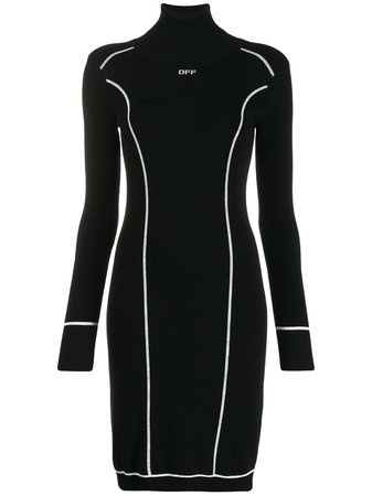 Off-White Logo Knitted Dress OWHI016E19E990741001 Black | Farfetch