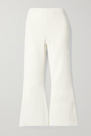 Cropped Ribbed-knit Flared Pants - Off-white