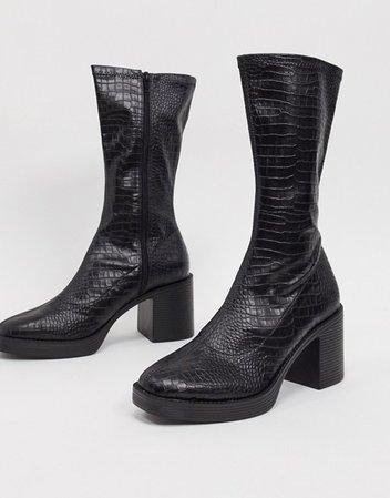 Public Desire Generate chunky sock boots in black croc | ASOS