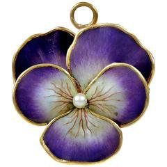 Art Nouveau Style Vintage Enamel Pansy Flower Pin 14 Karat Gold and Pearl at 1stdibs