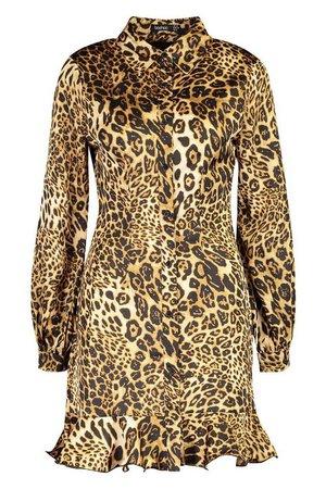 Leopard Print Ruffle Hem Shirt Dress mini   Boohoo