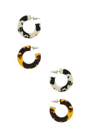 Printed Hoop Earring Set