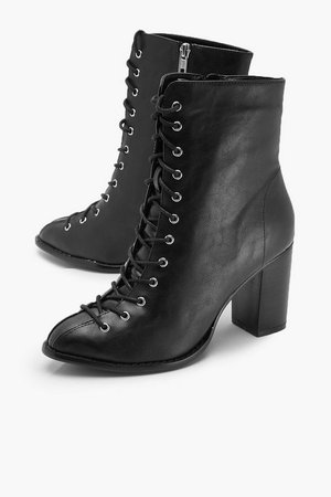Lace Front Block Heel Shoe Boots | Boohoo
