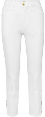 Le Sylvie Cropped High-rise Straight-leg Jeans - White