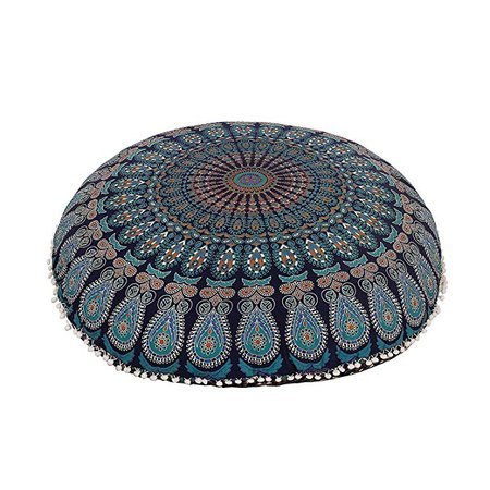 """32"""" blue Floor Pillow Cover cushion floor pillow cover mandala Ottoman pouf case pillows decorative throw round pillowcase indian cushions seating bohemian for couch covers decor boho: Amazon.ca: Gateway"""