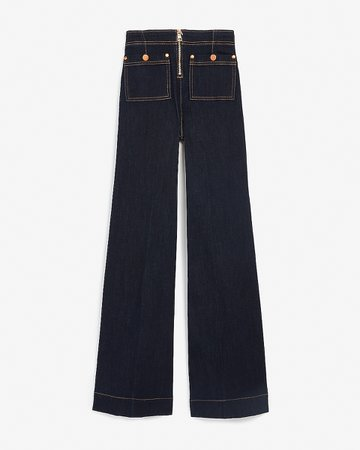 High Waisted Zip Front Patch Pocket Wide Leg Jeans | Express