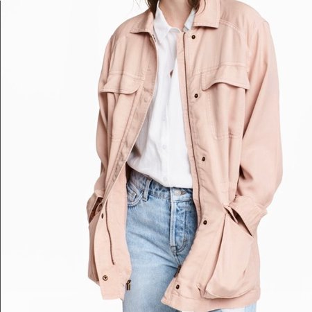 H&M Jackets & Coats | Light Pink Long Utility Jacket | Poshmark