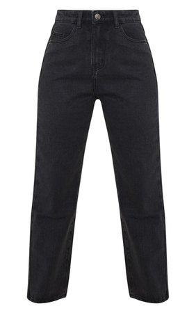 Prettylittlething Petite Black Straight Leg Jeans | PrettyLittleThing