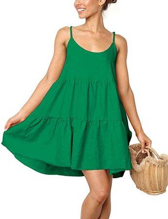 LOMON Spaghetti Strap Dress for Women Pleated Swing Dress Backless Casual Mini Dress at Amazon Women's Clothing store