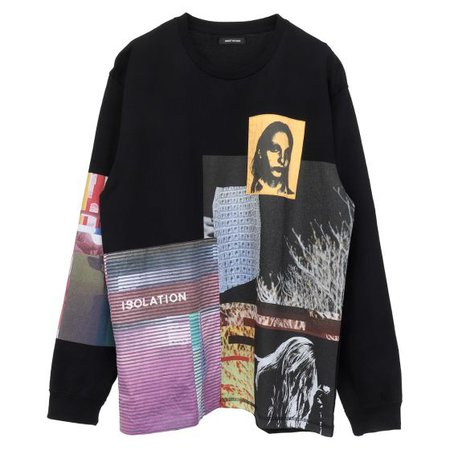 CHRISTIAN DADA MULTI GRAPHIC LONG SLEEVE T-SHIRT / BLACK
