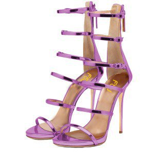 Pink Mirror Leather Gladiator Heels Stilettos Buckles Strappy Sandals for Party, Music festival, Ball, Date, Anniversary | FSJ
