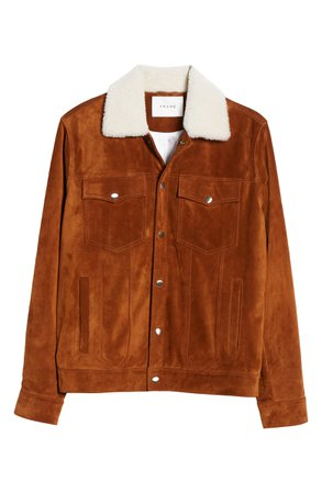 FRAME Genuine Shearling Collar Suede Trucker Jacket