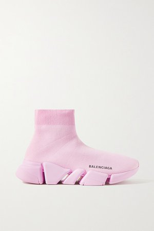Speed 2.0 Stretch-knit High-top Sneakers - Baby pink