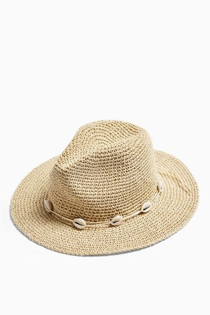 Natural Straw Cowboy Hat with Shells | Topshop