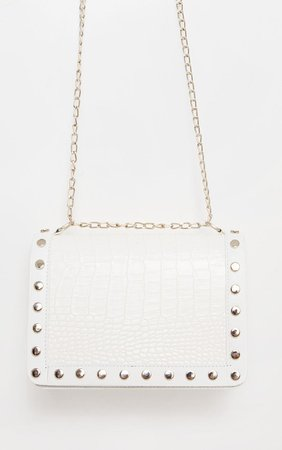 White Studded Croc Cross Body Bag   PrettyLittleThing