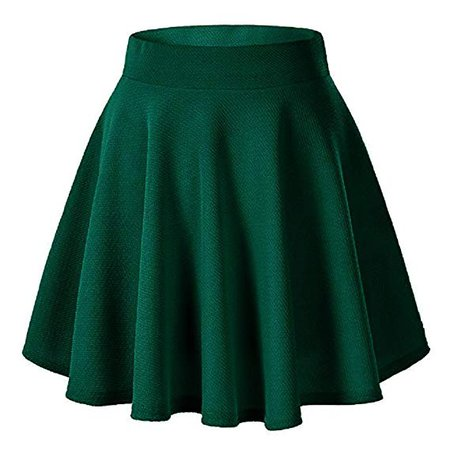 Moxeay Women's Basic A Line Pleated Circle Stretchy Flared Skater Skirt (Medium, Hunter Green) at Amazon Women's Clothing store: