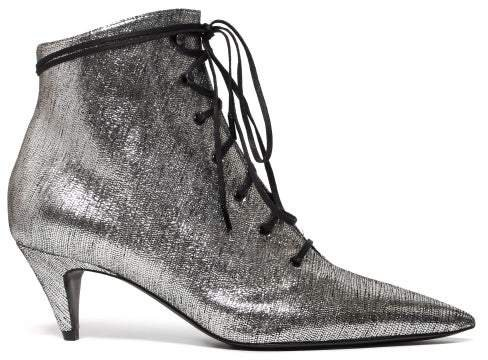 Charlotte Lace Up Metallic Leather Ankle Boots - Womens - Silver