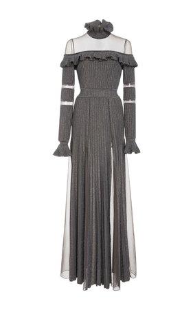 Elie Saab Ruffled Long Sleeve Knit Dress